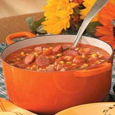 Autumn Sausage Corn Soup this is one of my favorite soups to make when it is cold outside