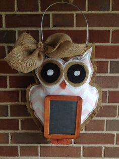 Burlap OWL Door Hanger with chalkboard and Natural Burlap Bow