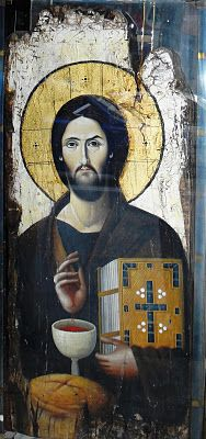 Icon of Christ with bread and wine