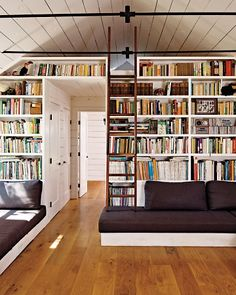 ladder, bookcases, cottag, home libraries, floor, living spaces, dream, hous, shelv