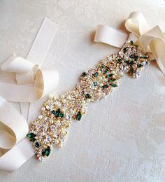 Gold and Emerald Green Bridal Belt- Vintage Wedding- Swarovski Crystal Bridal Sash- One-of-a-Kind Hand-Beaded -Vintage Glamour