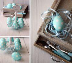 Preciosos huevos de puntitos blancos, de La Receta de la Felicidad / Lovely blue eggs with white spots, from La Receta de la Felicidad