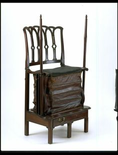 Exercise chair, made 1790 - 1820, Mahogany, with horsehair and leather upholstery. Bequeathed by Lt. Col. G. B. Croft-Lyons FSA.