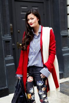 Mother jeans, Zara jacket, vintage scarf, Manolo Blahnik heels, Céline bag.