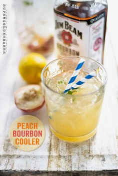 Peach Bourbon Cooler | This cooler is refreshing, a little sweet, with a lovely smokey edge. It feels like a grown up #cocktail to be sipped. @Lucy Kemp Kemp supergoldenbakes