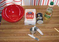 Ingredients for playdough mountain:    4 c. of flour  1.5 c. salt  1.5 c. water  1 Tbs. oil
