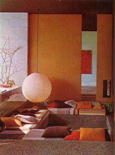 Conversation pit... (home, decor, design, interior, orange) Lights, Orang, Light Fixtures, Design Interiors, Reading Nooks, Homes, 1970S Home Decor, Couches, Cords