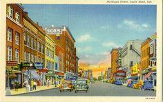 Michigan Street, South Bend, Indiana postcard