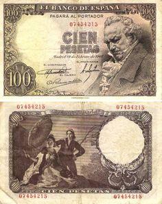 Billete de cien peseta.
