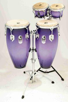Purple bongo drum set...AAAAAAAAHHHHHHH musica tropic, conga, drum sets, bongo drums, music instrument, music connect