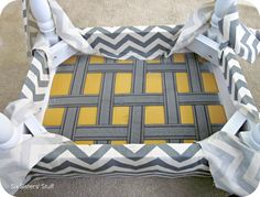 Six Sisters' Stuff: DIY Tufted Ottoman Fabric Recover Tutorial