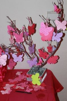 The theme of my daughters party was butterflies, instead of a sign in book I made a tree with butterflies so people can sign and hang on the tree.