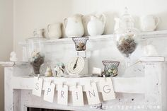 Thoughts from Alice: Rustic Spring Mantel