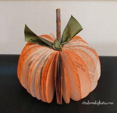pumpkin decorations, paper pumpkin, book pages, book craft, fall pumpkins