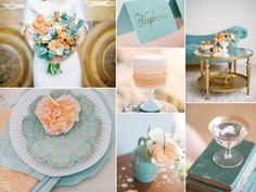 Peach and teal wedding - love this color combo