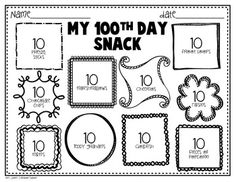 100th Day of School Freebie math, idea, counting to 100th day, school freebi, schools, 100th day of school, freebi printabl, school snacks, place mats