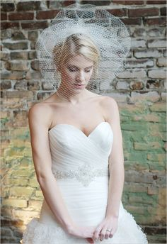 bird cage veil by Tessa Kim (A Bonny Bridal favorite) who used style 8201 from the Essence Collection