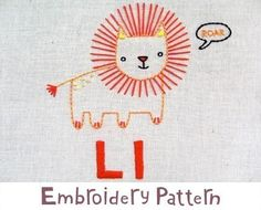 L Lion INSTANT DOWNLOAD PDF embroidery pattern di penguinandfish
