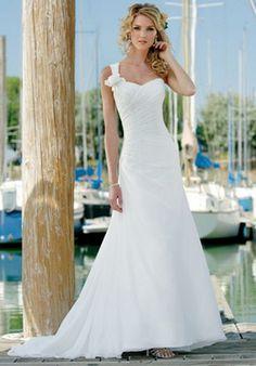 A-Line One-Shoulder Strap Chapel Train Chiffon Wedding Dress $175