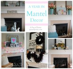 A review of all my mantel decorating ideas for 2012. See how I decorated my fireplace mantel for Valentine's, Easter, Spring, Summer, Fall, Halloween, Christmas and more! A Pop of Pretty, apopofpretty.com