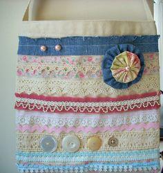 Canvas Tote Bag Embellished Small Vintage by LilpaperBoutique, $15.00