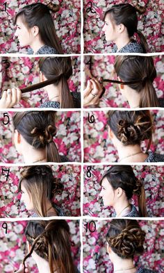 Twisted bun diy ideas, bun hairstyles, hair tutorials, diy hair, diy fashion, braid, fashion beauty, diy gifts, twist bun