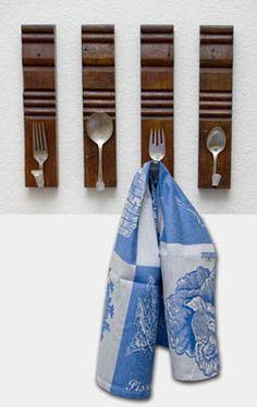 fork, old silverware, towel racks, towel hook, kitchen deco, kitchen towels, kitchen walls, hand towels, pallet wood