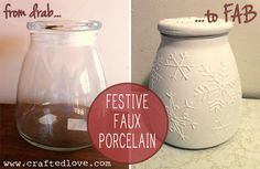 Store Santa's cookies in this lovely DIY Faux Porcelain Snowflake Jar via Crafted Love!