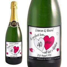 40th anniversary party ideas make labels for the champagne toast 40th