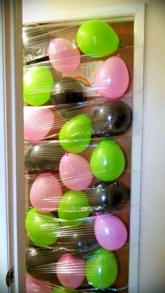 Fun idea for someone to walk into. Tape plastic wrap to frame of door and add balloons as you go up. So when the open the door from the other side... all the balloons fall to them. https://www.facebook.com/OrlandoBirthdayGram