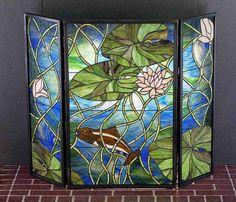 stained glass fireplace screens   Stained glass fireplace screen   glass