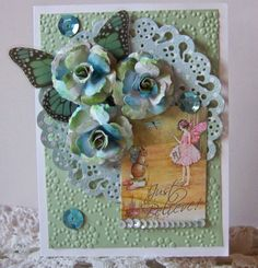 Pretty Fairy card with paper flowers by Diane at Nellies Nest using a sweet image for Crafty Secrets Linky Party using their Digital Fairy Scraps.