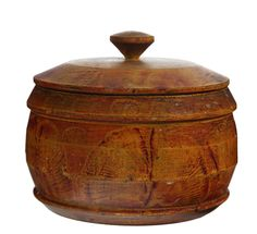 Sold for $1,980 DECORATED TREENWARE COVERED CONTAINER.  American, mid 19th century. Original vinegar sponging in red and mustard. Some wear and splits in li...