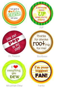 {Free} Teacher Appreciation Gift tags, Soda pop (Mountain Dew, 7-up, Dr. Pepper, A&W Root Beer, Mountain Dew, Fanta, Orange Crush)