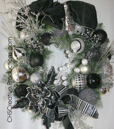 christma wreath, christmas wreaths, black christmas, idea, silver christmas, christma black, silver wreath, christma decor, holiday decor
