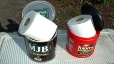 camping tips, idea, roll, camp toilet, outdoor, coffee cans, toilets, papers, toilet paper