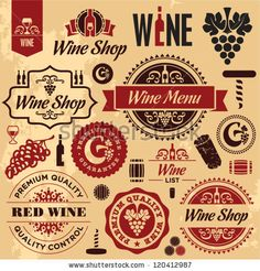 Wine Labels Collection Stock Vector 120412987 : Shutterstock