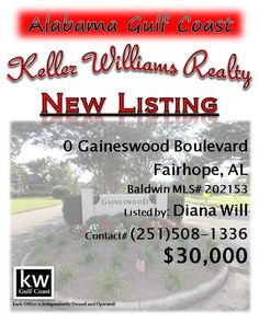 0 Gaineswood Boulevard, Fairhope, AL...MLS# 202153...Build your dream home on this nearly 1/2 lot in ideal location. It offers the appeal of a quiet county setting, yet is close to all that the city has to offer, to include great academics, youth sports, sunset walks along Mobile Bay & quaint Downtown Fairhope. Seller has 5 additional lots for sale on Glover Court, thus this would make an ideal spot for model home at subdivision entrance. Please contact  Diana Munoz Will at 251-508-1336.