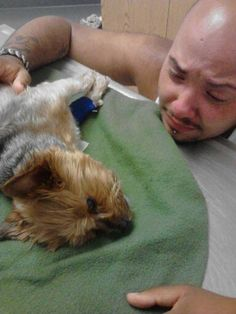 This is a man singing to his dog before he passed away. His dog died from eating tainted Waggin' Train dog treats. He wanted everyone to see this picture and know the story behind it so no one will lose a pet the way he did. - Imgur