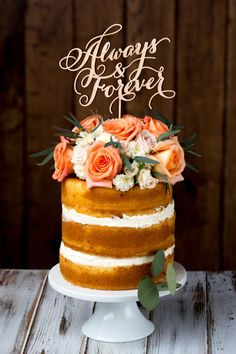 Rustic wedding cake topper.