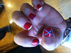 Rebel flag nails :)