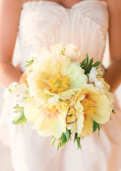 Butter yellow bridal bouquet - tree peony, white sweet pea, and yellow ranunculus bouquet by Charleston Stems, photographed by Corbin Gurkin