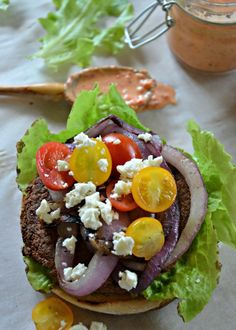 Greek Veggie Burger, www.mountainmamacooks.com #vegetarian