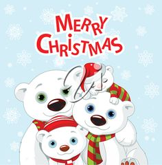 iCLIPART - Royalty Free Clipart Image of a Polar Bear Family Greeting