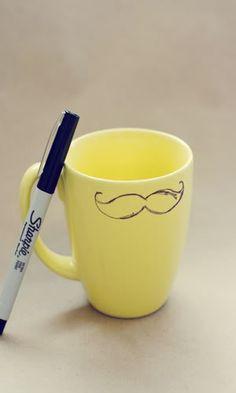 mustache mug DIY