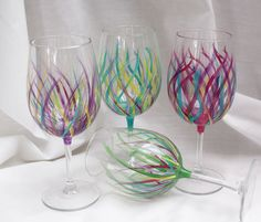 hand painted wine glasses. Kitchen tableware home decor design DIY
