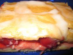 Cherry Cheese Strudel - Cherry pie filling, crescent rolls and cream cheese. Yum!