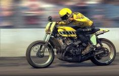 Kenny Roberts riding a Yamaha TZ750.This was the most powerful motor ever mounted in a motorcycle frame for dirt track.