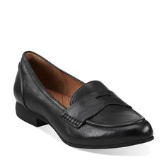 Charlie Penny in Black Leather - Womens Shoes from Clarks
