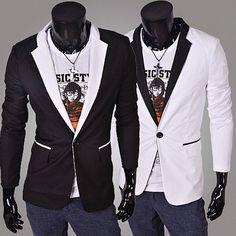 One Button Men Color Contrast Slim Fit Blazer | Sneak Outfitters